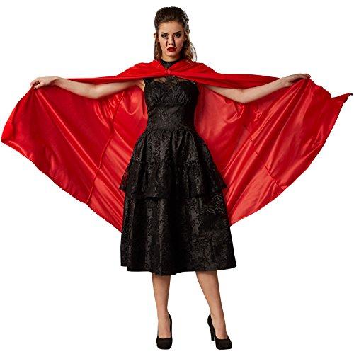 dressforfun Samt-Umhang mit Kapuze | Passend zu vielen Kostümen (Rot 116 cm | Nr. 301864)