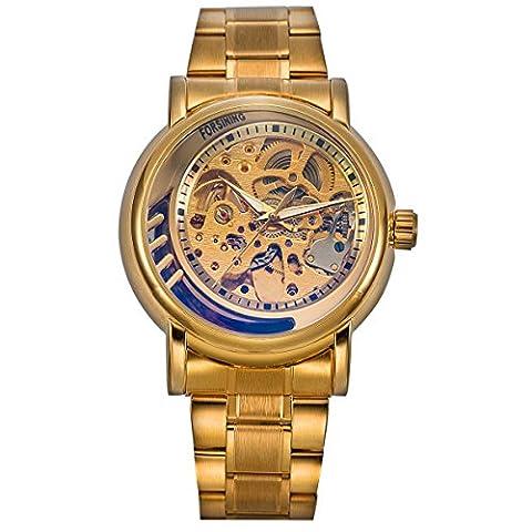 ManChDa® Männer Mode Goldene Skelett Mechanische Automatik Armbanduhr mit Gold Edelstahl Band + Geschenk-Box