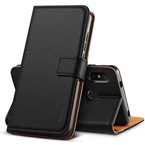 Anjoo Kompatibel für Xiaomi Mi A2 lite Hülle, Handyhülle Mi A2 lite Schutzhülle, Tasche Leder Flip Case Brieftasche Etui mit Kartenfach und Ständer für Xiaomi Mi A2 lite - Schwarz