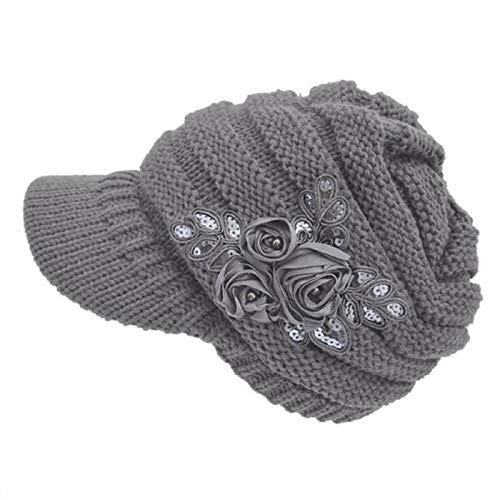 WWricotta Women's Cable Knit Visor Hat with Flower Accent -