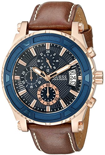 guess-mens-46mm-brown-leather-band-steel-case-quartz-blue-dial-watch-u0673g3