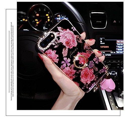 Custodia iPhone 7, iPhone 8 Cover Silicone Bling, SainCat Cover per iPhone 7/8 Custodia Silicone Morbido 3D, Bling Glitter Shock-Absorption Ultra Slim Transparent Silicone Case Ultra Sottile Morbida G Fiore di Rosa