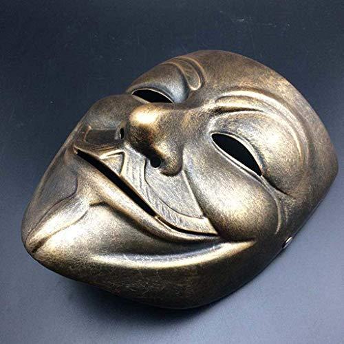 Fanfan Harz V Wort Vendetta Maske V Wort Film Film Weiße Maske Film Thema Maskerade Maske Erwachsenen,Gold (Weiß Und Maskerade Gold Masken)