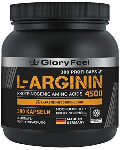 GloryFeel® L-Arginin 380 Kapseln - Vergleichssieger 2019* - 4500mg L-Arginin HCL (3750mg reines L-Arginin) Hochdosiert pro Tagesdosis - Laborgeprüft und Hergestellt in Deutschland -