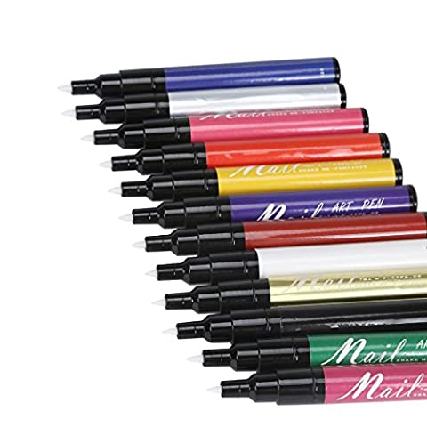 Nagellack Stift, lanowo 12Farben Nagellack Pen Set Malen Design Werkzeug Zeichnen Nail Art Pen für 3D Nail Art DIY