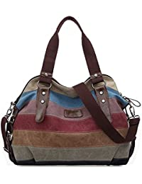 bolsa de hombro - TOOGOO(R)Bolso de monedero de mensajero de mujeres de lona bolso de hombro de moda de vendimia de bloque colorido para mujeres