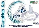 Curaneb Kit ricambi universale per aerosol a pistone composto da Ampolla, mascherina adulti e pediatrica, tubo di collegamento, forcella nasale, boccheruola - tipo microlife e nebula