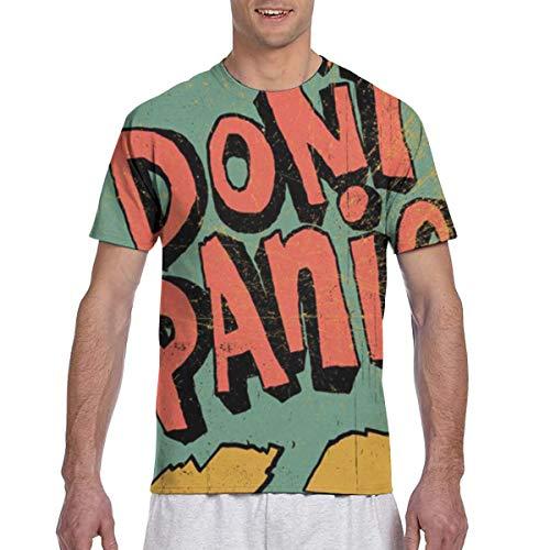 Men Tee Shirts Don\'t Panic Short Sleeve T-Shirts Crew Neck T Shirt