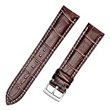 Bracelet de montre PATH FREE - Marron / Noir / Marron foncé Bracelet en cuir de vachette véritable 18/20/21/22 / 24mm avec 4 barres de ressorts et outil de suppression de barre de ressort