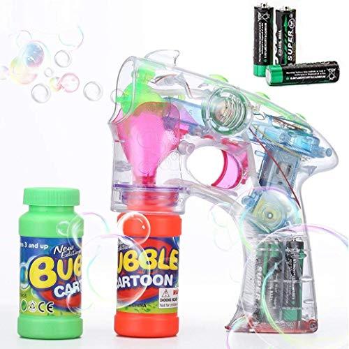 Shinehalo Seifenblasenpistole Transparent Bubble Gun Shooter Leuchten Blinkgebläse Maschine Spielzeug mit Sound-Effekt (inkl. Batterien)