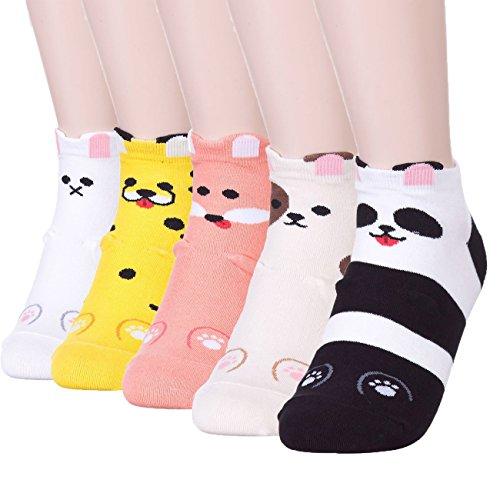 JYsense Damen Socken Einheitsgröße Gr. Einheitsgröße, Cute Animals 5 Pairs (Liner Crew Lightweight-hiking)