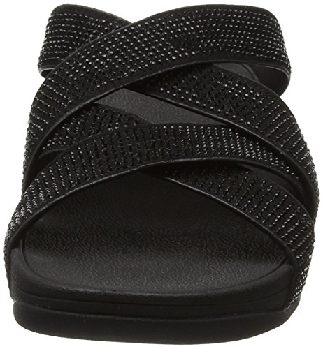 FitFlop Slinky Rokkit Tm Criss Cross, Sandali con Tacco Donna Nero (All Black Crystal)
