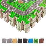 BodenMax Puzzlematte mit Stadt und Straßen für Babys und Kinder - Spielmatte, Krabbelmatte und Kinderspielteppich 30x30x1 cm (18 Stück)