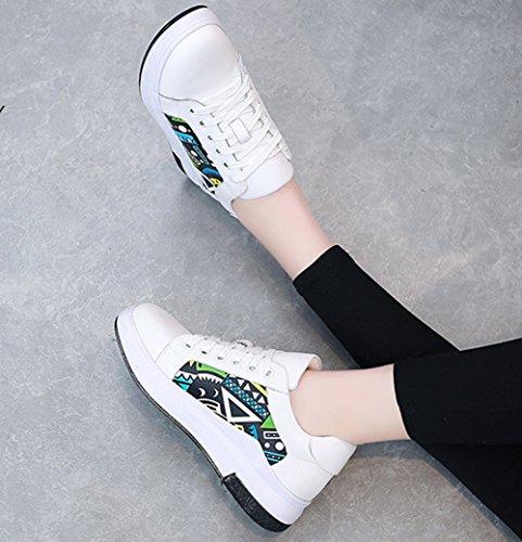 Damen Leicht Skateboard-Schuhe Spleiß Weich Flach Schnürschuhe mit Moderner Zeichnung Weiß
