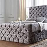 "The Luxury Bed Co. Kristall Bett mit Kopfteil & Trittbrett – Luxuriöse & strapazierfähigen – Living/Schlafzimmer Möbel, Crushed Velvet Champagne, Double 137"" high x 148"" Width x  213"" Long"