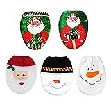 Generic Black Snowman: 5Style Choice pupazzo di Babbo Natale copriwater coperchio WC, cuscino Capodanno Natale festival bagno decorazione