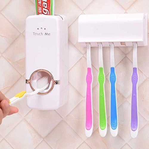 b&m Plastic Automatic Toothpaste Dispenser with Tooth Brush Holder for Homes and Bathrooms (Multicolour, 16x10.5x7.6cm)