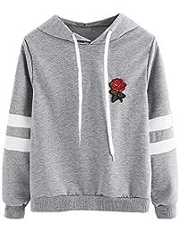 Sweat à Capuche Femmes, Printemps Automne Hiver Sweat-Shirt Manteau Veste for Women Pas Cher Hoodies, Rose en Broderie [Cadeaux De NoëL] [Version AméLioréE]