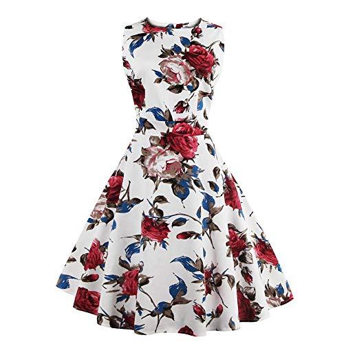FTVOGUE Damen 50er Retro Ärmellos A Linie Floral Ballkleid Rose Blumen Druck Muster Print Schleife Gürtel Hohe Taille Knielang Bodycon Prom Swing Plissee Kleid Weiß(3XL)