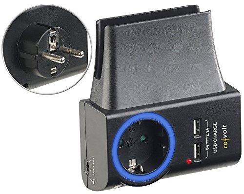 revolt USB Zwischenstecker: 4in1-Steckdose, 2x USB, LED-Ring & Smartphone-Halterung, 2,1 A, 10,5 W (Handyladestation)