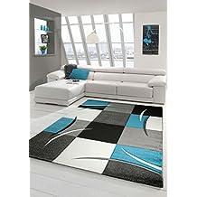designer teppich moderner teppich wohnzimmer teppich kurzflor teppich mit konturenschnitt karo muster trkis grau wei schwarz - Wohnzimmer Teppich Turkis
