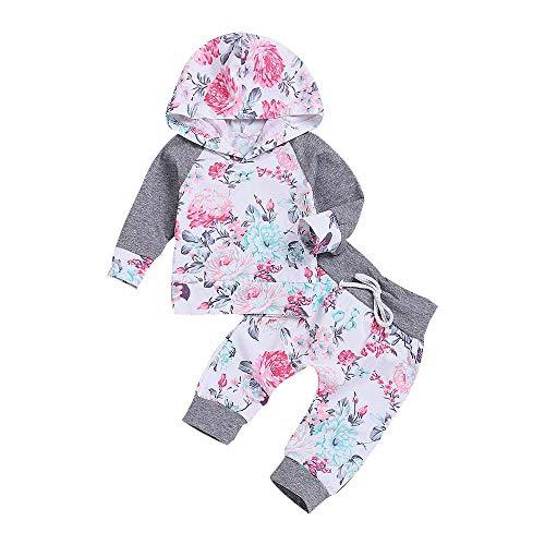 Beikoard Baby Langarm Blumendruck-Pullover-Set Neugeborenes Baby Mädchen Kleidung -