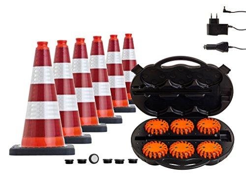 Leitkegel 6 Stück im Set mit High Power LED Warnleuchten (Mobileds, Escape light, Powerflare) im praktischen Transport- und Ladekoffer (voll-reflex)