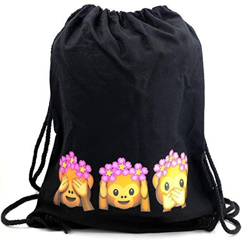 Imagen de premyo bolsa de cuerdas negra 100% algodón con emoji tres monos.  con cuerdas con impresión emoticon see hear speak no evil de alta calidad. gymsac con cordón saco de gimnasio ideal para viajar alternativa