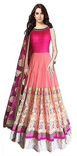 Angel\'s Fashions Women\'s Georgette Un-stiched Lengha Choli (pink)
