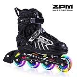 2pm Sports Brice Größe verstellbar Inline Skates für Kinder, Herren und Damen, LED-Räder leuchten nachts auf - Silber L(38-41)
