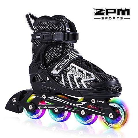 2pm Sports Brice Taille réglable en ligne de patins en ligne à pleine lumière LED roues, Rollers en ligne pour pour Enfants, Femmes et Hommes - Argent L (39-42)