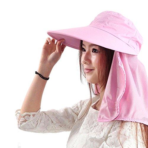 Liyinguk Mode Chapeau de Plage 2 en 1 Couvrant Visage Anti-UV Sun Hat Capeline Large Bord Pliable Masque Protection Anti-Poussière Randonné/ Cyclisme/ Printemps Eté Aux Femme Fille Dame Rose
