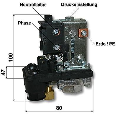 Druckschalter 230V für Kompressoren 10A 3-12bar Luftkompressoren Hauswasserwerke von WilTec - Lampenhans.de