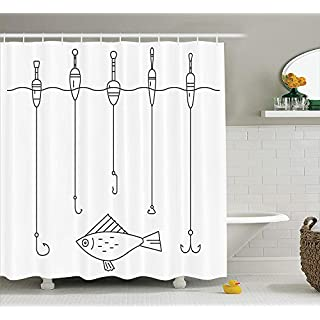 Vintage Decorations Collection, Fishing Tackle Floaters Hooks Fishing Gear Equipment Doodle Style, Polyester Fabric Bathroom Shower Curtain Set with Hooks, 75 Inches Long, Black And White