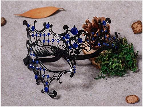 Xiton venezianischen Hohlen Gesicht Prinzessin Halbmaske mit Schlanken Metall Diamant, Halloween Sexy Spitzen-Maske für Maskerade Party, Hochzeiten, Fasching, Karneval in Venedig und Tanz, blau