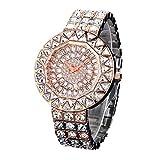 Armbanduhren Damenuhren Wasserdichte Eingelegte Bohrer Modetrends Edelstahl-Wasserpumpen Mit Gürtel Rosengold