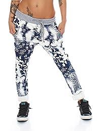 4312 Fashion4Young Damen Haremshose Hose Baggy Boyfriend Freizeithose Jogginghose Sporthose pants