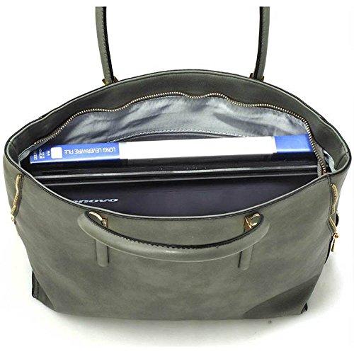 TrendStar Damen Handtasche Faux Leder Damen Dekorative Fliege Leinentrage Schultertasche. A - Grau Umhängetasche