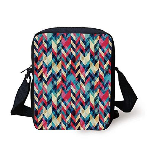 LULABE Grunge,Hipster Zigzag Herringbone Retro Style Pattern Chevron Triangles with Grunge Effect Decorative,Multicolor Print Kids Crossbody Messenger Bag Purse
