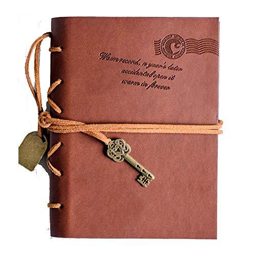 Europäische Retro-Reise-Notebook, Kreative Literarische Nostalgische Leder Notebook 5,2 Zoll * 7,3 Zoll Mehr Als 100 Seiten