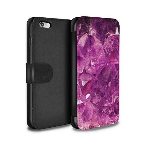 Stuff4 Coque/Etui/Housse Cuir PU Case/Cover pour Apple iPhone 8 / Février/Améthyste Design / Pierre/Gemme Collection Février/Améthyste