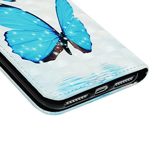 Badalink Hülle für iPhone 7 Plus / iPhone 8 Plus Einhorn Handyhülle Leder PU Case Magnet Flip Case Relief Schutzhülle Kartensteckplätzen und Ständer Handytasche mit Eingabestifte und Staubschutz Steck Blauer Schmetterling