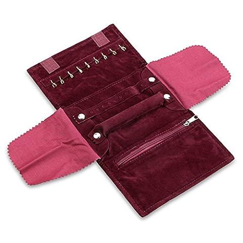 Sumnacon Trousse à Bijoux Portable, Organiser les Boucles d'oreille, Bagues et Collier etc. Joli Cadeau pour Voyage (Vin Rouge)