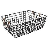 WM Homebase Metallkörbe Schalen Wäschesammler Aufbewahrungskorb Drahtkorb aus Metall mit Griffen für Badzubehör oder Spielzeug Schwarz 43x30x15CM