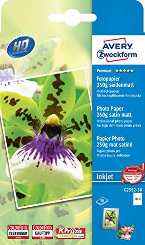 AVERY Zweckform C2552-50 Premium Inkjet Fotopapier (10x15, einseitig beschichtet, seidenmatt, 250 g/m²) 50 Blatt