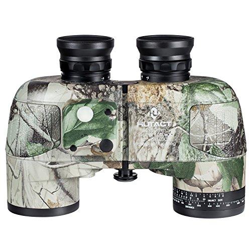 HUTACT Militär Fernglas 10x50, Kompassmessrichtung, Eingebautes Lineal, große Okularlinse, großes Sichtfeld, geeignet für Jagd, Langlauf und Reisen