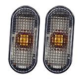 2x Blinker Blinkleuchte seitlich Seitenblinker rauchgrau oval links + rechts, beidseitig passend