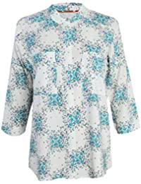 05e5e23cc1 White Stuff Ex Size 8-18 Turquoise White Floral Loose Fit Shirt Blouse