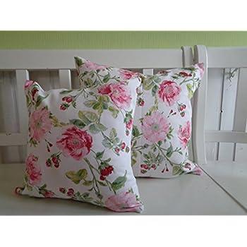 Landhaus Kissen kissen kissenhülle landhaus shabby chic blüten creme rosa rot 40x40