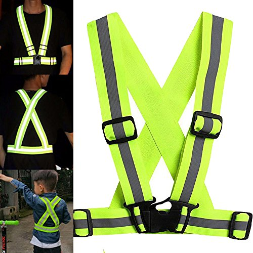 MALAYAS Kids Adjustable Visibility Reflective Safety Vest Running Gear Child for Cycling Jogging Walking Night Walk Green S